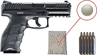 Umarex H&K VP9 Co2 - BLK Airsoft Pistol with Included 5x12 Gram CO2 Tanks and Wearable4U Pack of 1000 6mm 0.20g BBS Bundle