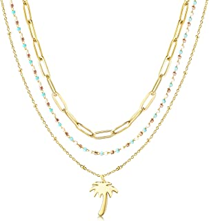 CIUNOFOR Layered Necklace Gold Plated Coconut Tree Pendant with White Blue Gold Beads Long Link Chain Necklace for Women Ladies Girls