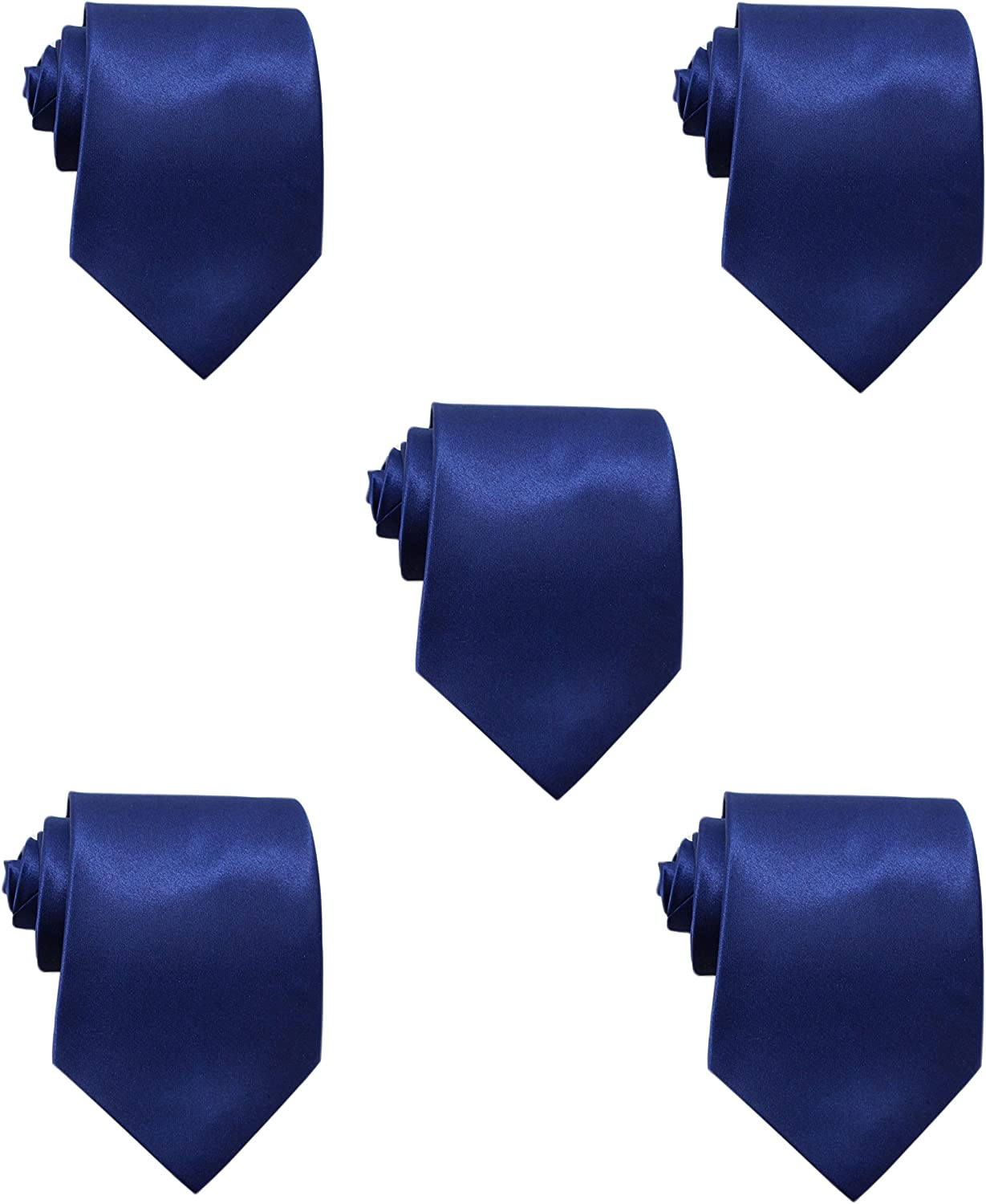 Mens Solid Satin 3.9 Inch Wide Formal Necktie Pack 5 For Wedding By JAIFEI (Navy) at  Men's Clothing store