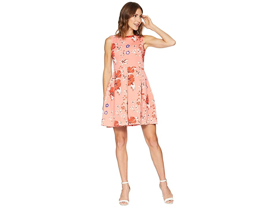 Taylor Floral Print Fit and Flare Dress (Coral Multi) Women