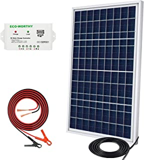 ECO-WORTHY 20W 30W 12V Portable Waterproof PV Polycrystalline Solar Panel System kit with Charge Controller & Clips Adapter