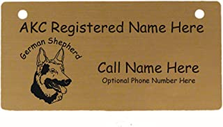 C3215 German Shepherd Head Crate Tag Personalized with Your Dog's Name