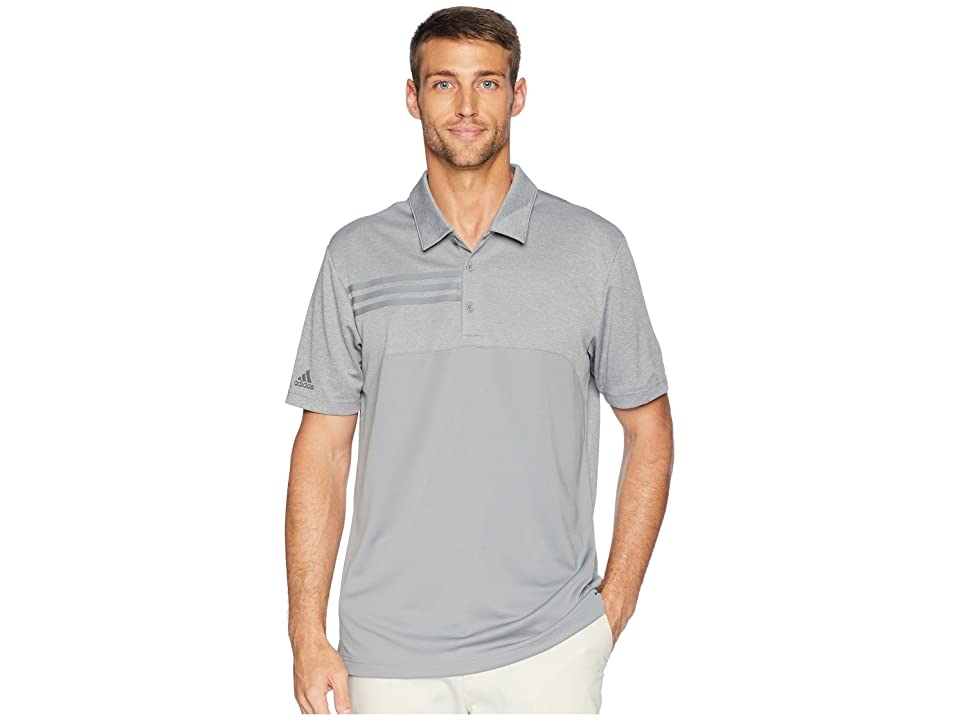 Image of adidas Golf 3-Stripes Heather Block Polo (Grey Three Heather) Men's Short Sleeve Pullover
