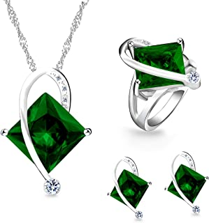 Charm Created Topaz Big Square Crystal Necklace Matching Stud Earrings Rings Jewelry Set T295