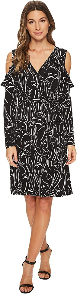 Ivanka Trump Matte Jersey Printed Ruffle Cold Shoulder Dress