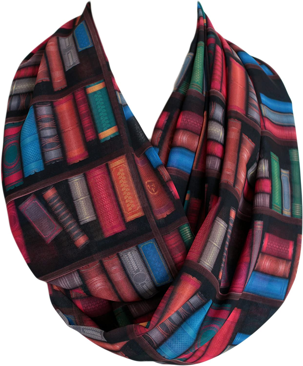 Etwoa's Bookshelf Infinity Scarf Circle Scarf Loop Scarf (colorful)