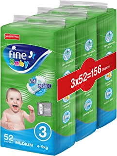 Fine Baby Diapers, Size 3, Medium 4–9kg, Jumbo Pack, 3 packs of 52 diapers, 156 total count