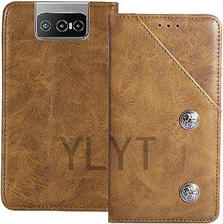 YLYT Business Shock - Brown Flip Leather TPU Silicone Retro Cover مع حامل محفظة القضية لـ Asus Zenfone 7 Pro ZS671KS 6.6 ب...