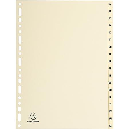 Exacompta - Réf. 1118E - Intercalaires en Carte ivoire 155g/m2 FSC® avec 18 onglets imprimés alphabétiques de A à Z - Format à classer A4 - Dimensions 22,5 x 29,7 cm - couleur ivoire