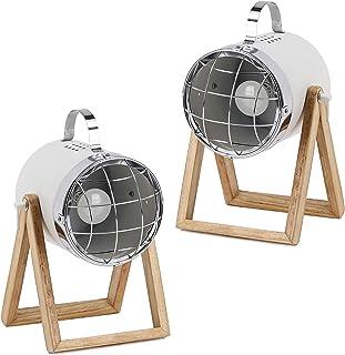 BRUBAKER - Lampe de table/de chevet - Lot de 2 - Design industriel - Hauteur jusqu'à 42 cm - Pied en Bois - Spot en Métal/...