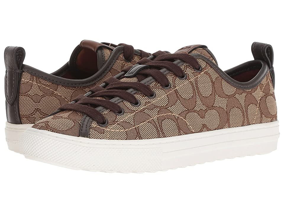COACH C121 Low Top Sneaker (Khaki/Chestnut Signature C) Women