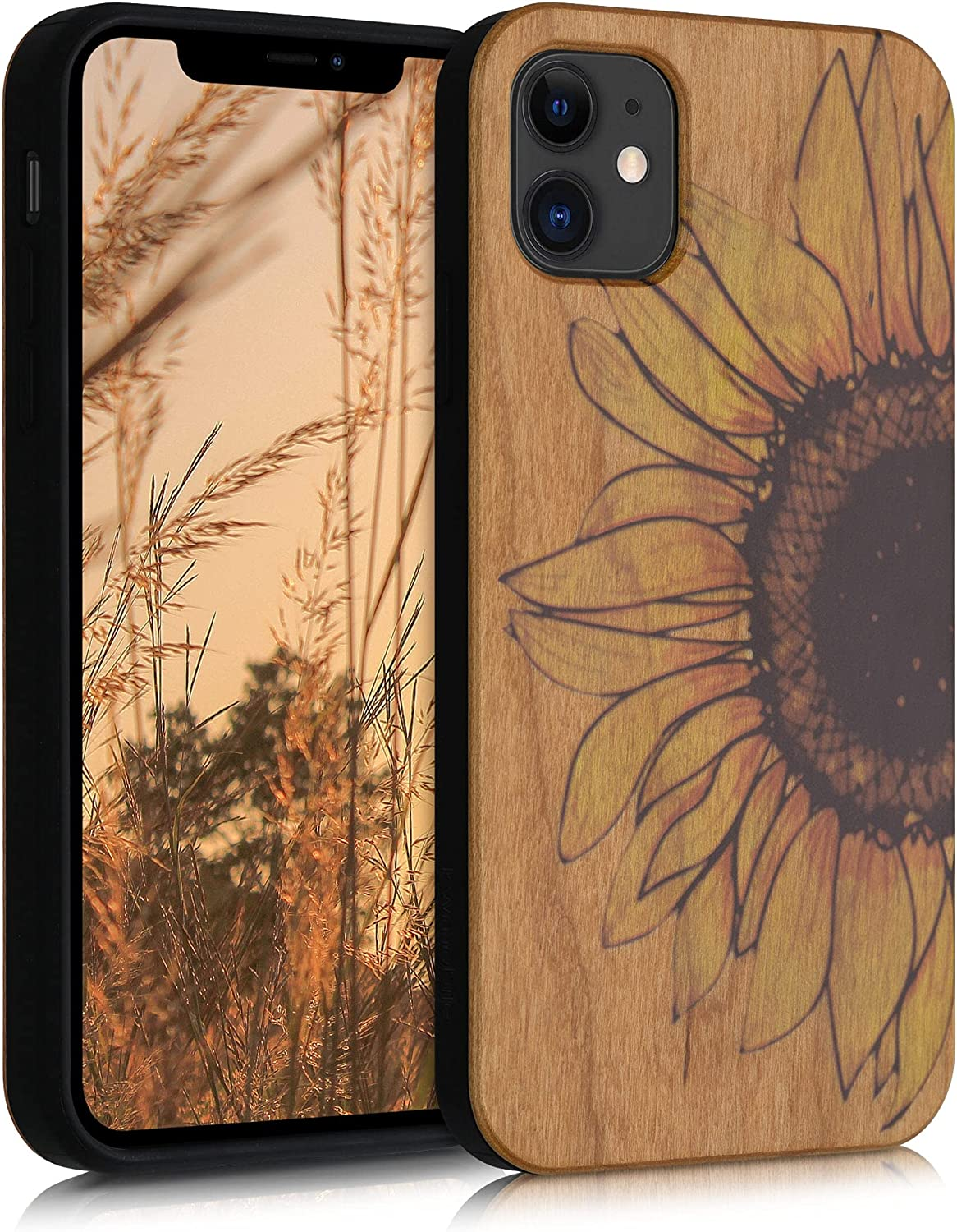 kwmobile Wood Case Compatible with Apple iPhone 11 - Phone Case with TPU Bumper - Wood Sunflower Yellow/Dark Brown/Light Brown