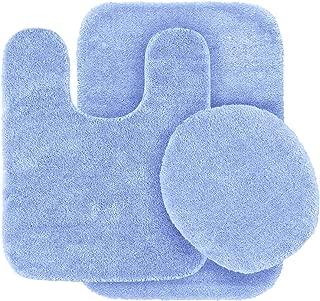 Elegant Home Goods Solid Color 3 Piece Bathroom Rug Set Bath Rug, Contour Mat, Lid Cover Non-Slip with Rubber Backing Solid Color New #6 (Light Blue)