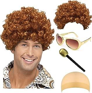 Disco King 1970s Halloween Costume - Dirt Bag Dude Wig,Rockstar Aviator Shades Sunglass,Party Microphone