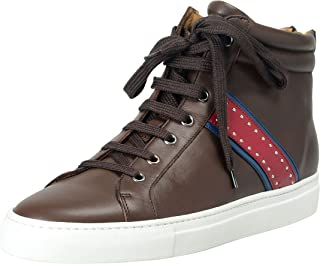 Men's Brown Leather Hi Top Fashion Sneakers Shoes US 9 IT 42