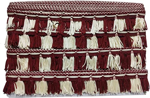 Uniqon CWG0108 04 25 Mtr Roll of Maroon and Cream Gota Patti Embroidery Trim Curtain Lace Border with 3 81 cm Width for Saree Suit Dresses Embellishment Fashion Designing craftworks