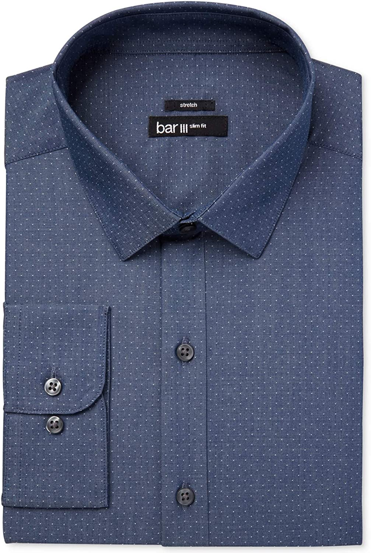 bar III Mens Dress Shirt Indigo Polka Dot Slim Fit Stretch Blue XL