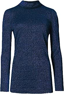 Womens Knitted ribbed Lurex Polo Neck Top Sweater Jumper (M, Navy)