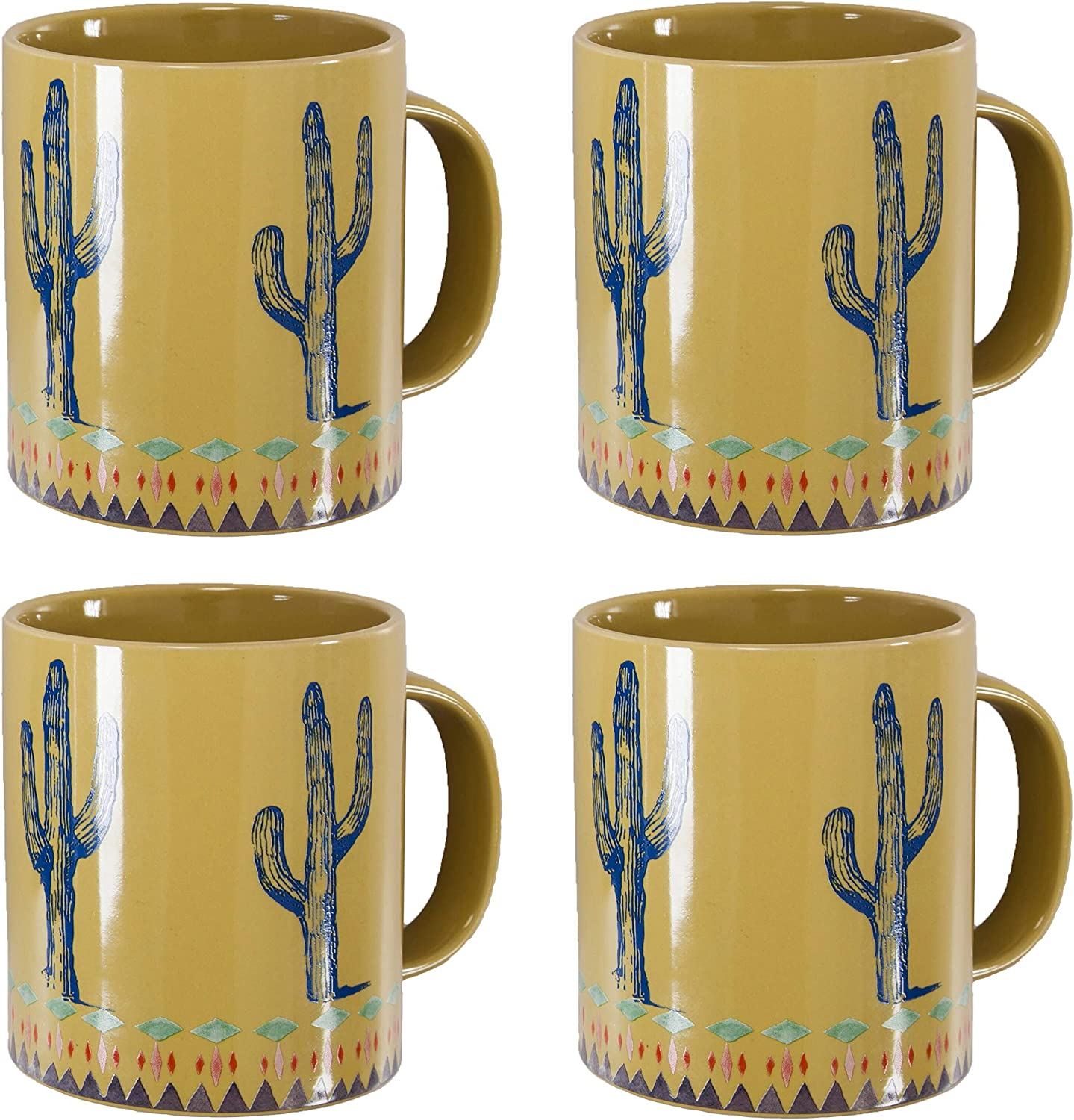 HiEnd Accents Cactus Border 4 Sale price Piece Mug ounce Special price for a limited time Set Yellow 20