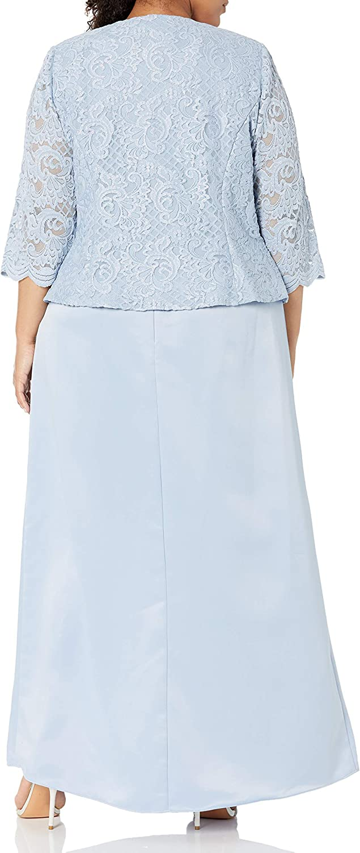 Alex Evenings Women's Plus Size Long A-Line Mock Dress with Jacket