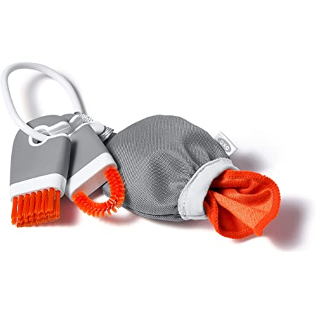 OXO Good Grips Kit de mini cepillos de limpieza y paño de microfibra, 3 piezas