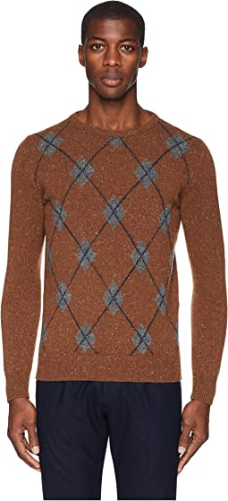 Tweed Argyle Cashmere Sweater