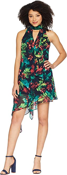Hot Tropics Printed Chiffon Swing Dress