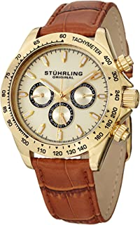 Stuhrling Original Men's Quartz Watch with Gold Dial Analogue Display and Brown Leather Strap 564L.02