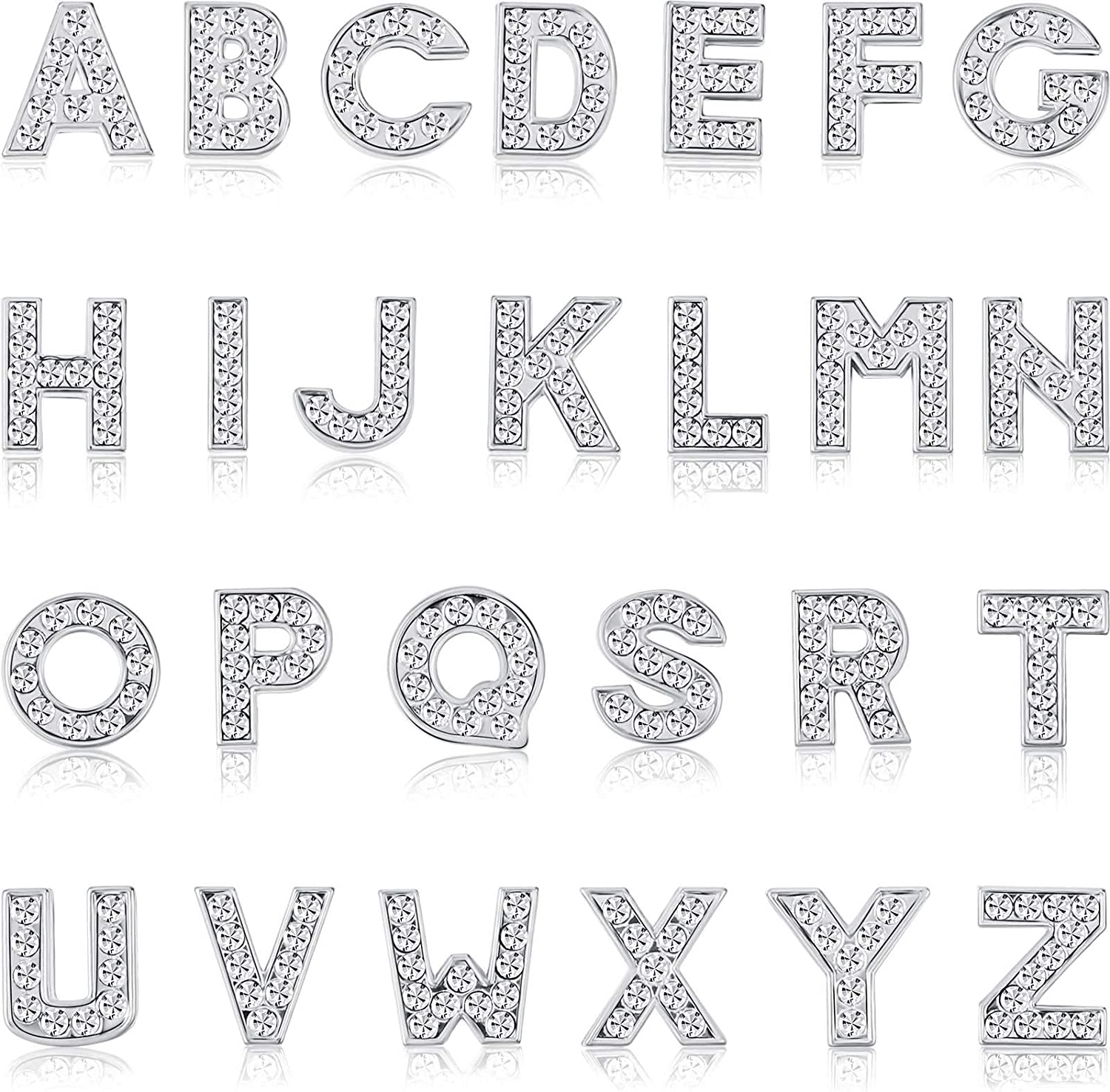 156 Spasm price Pieces 8 mm Full Rhinestones Letters A Discount mail order Charms Slide Alphabet