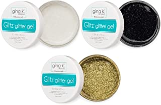 Gina K Designs - Glitz Glitter Gel Essentials Set - White, Black and Gold Glitter Gel - 3 Items