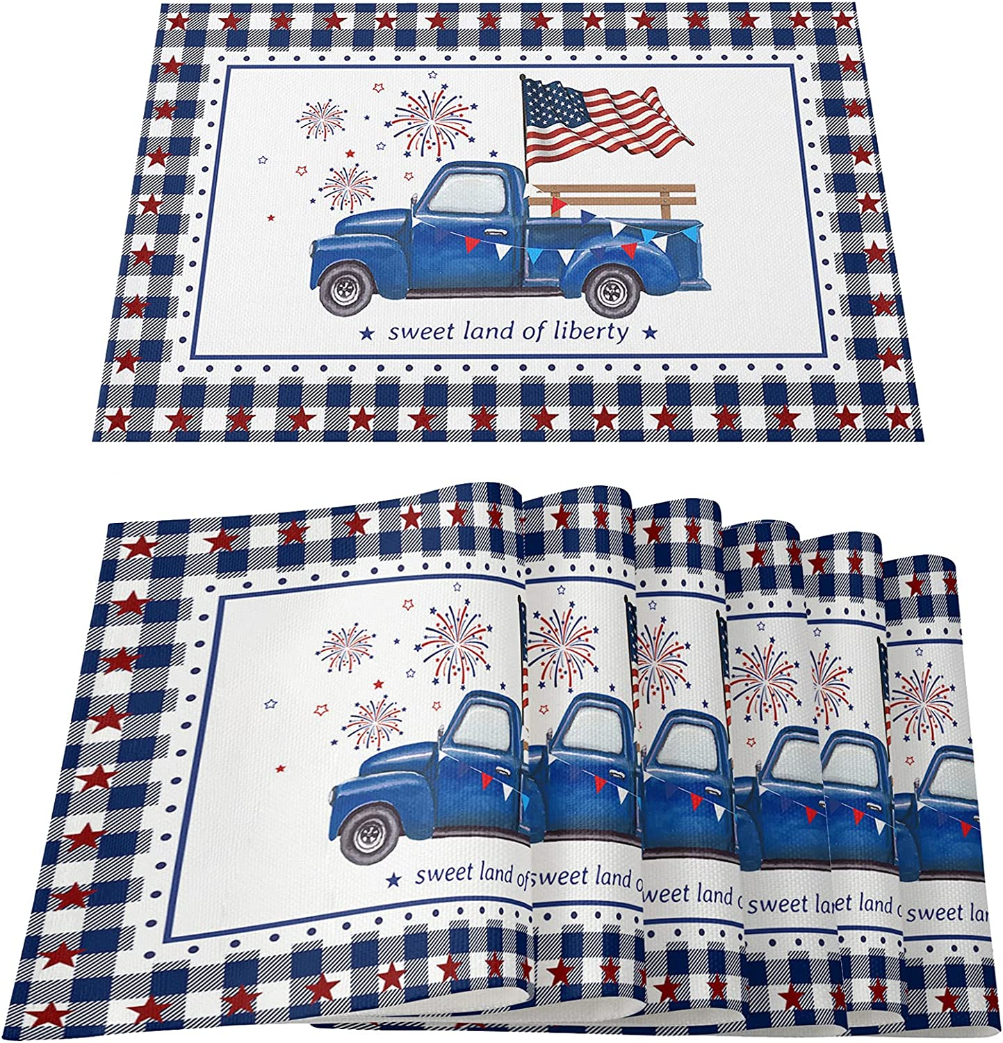 Independence Day Placemats July 4th Red Blue Check Plaid Blue Truck Firework Table Mats Patriot Washable Non-Slip Heat Resistant Placemats for Holiday Banquet Party Kitchen Table Decor (Set of 6)