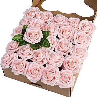 Breeze Talk Artificial Flowers Blush Roses 25pcs Realistic Fake Roses w/Stem for DIY Wedding Bouquets Centerpieces Arrange...