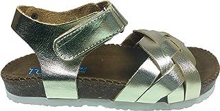 Tıpış Tıpış Turkuaz Patik Kız Sandalet Dore Rugan Önü Örgü Desen Bilekten Cırtlı% 100 Deri Ortopedik Mantar Taban