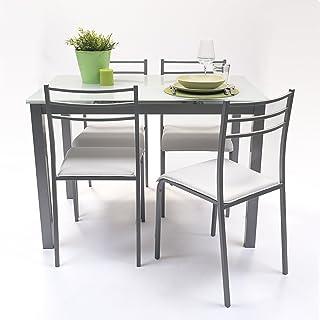 NAKURA Conjunto de Mesa de Cocina Extensible 110/140/170x70 cm+ 4 sillas - Paris