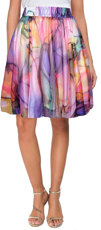 Afibi Womens Summer High Waist Chiffon Floral Print Swing Beach Mini Skirt
