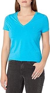 Nautica Women's Short Sleeve Stretch V Neck Solid T-Shirt T-Shirt