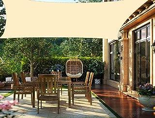 HENG FENG Toldo Vela de Sombra PES Rectangular 2 x 3 m Protección Rayos UV Impermeable Resistente a la Intemperie para Patio Exteriores Jardín Color Beige