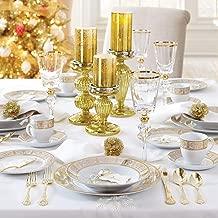 Brylanehome 40-Pc. Golden Ceramic Dinnerware Set (Gold White) - Gold White