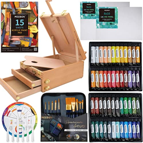 MEEDEN Complete Acrylic Painting Set with Solid Beech Wood Easel Box, 48 Colors Acrylic Paint Set and All Additional ...