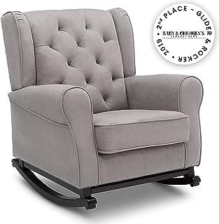 Delta Children Emma Upholstered Rocking Chair, Dove Grey
