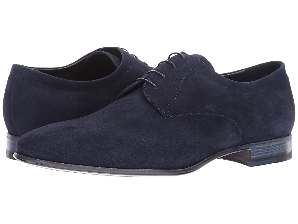Image of a. testoni Suede Deluxe Derby (Navy) Men's Shoes