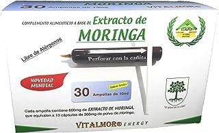 Vitalmor extracto concentrado de moringa, con todos los aminoácidos esenciales en 30 ampollas bebibles. Tratamiento para 30 días.