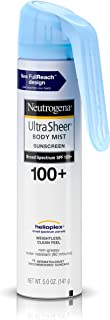 Neutrogena Ultra Sheer Body Mist Fullreach Sunscreen Spray Broad Spectrum SPF 100+, Lightweight & Water Resistant, Oil-Free & Non-comedogenic, 5 oz(Pack of 3)