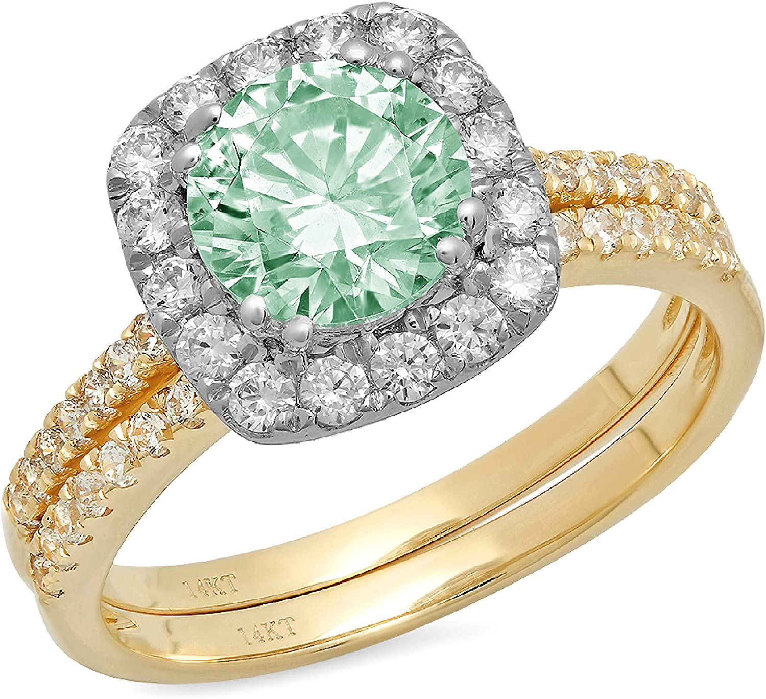 2.19ct Round Cut Halo Pave Solitaire Halo with Accent VVS1 Ideal Turquoise Green Simulated Diamond CZ Engagement Promise Designer Anniversary Wedding Bridal ring band set 14k Yellow White Gold