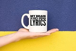 Funny Coffee Mug Gift My Brain is 80 Song Lyrics Coffee Cup Mug