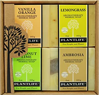 Plantlife Aromatherapy Herbal Soap Top 4 Pack Soap Combo Fruit Gift Set (Vanilla Orange, Lemongrass, Coconut Lime and Ambr...