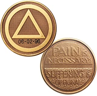 Personalized Custom Engraved - Circle Triangle - Pain is Necessary Suffering is Optional - Bronze AA (Alcoholics Anonymous)-ACA-AL-ANON-Sober-Sobriety-Birthday-Anniversary-Recovery-Medallion-Chip