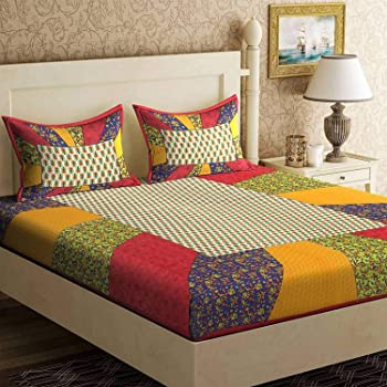 UNIBLISS Cotton 144 TC Bedsheet (Double_Multicolour)