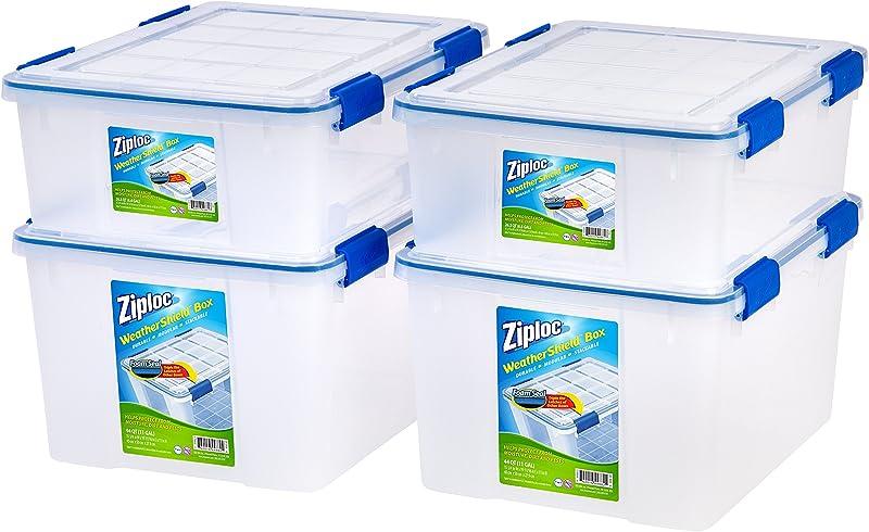 Ziploc WeatherShield 26 5 And 44 Quart Storage Box 4 Pack Clear