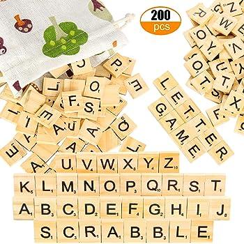 Pinowu Azulejos de Letras de Madera (200pcs) para Juego de crucigramas, Letras de Madera Reemplazo para DIY Craft Gift Decoración Scrapbooking con Bolsa de Regalo de Tela: Amazon.es: Hogar